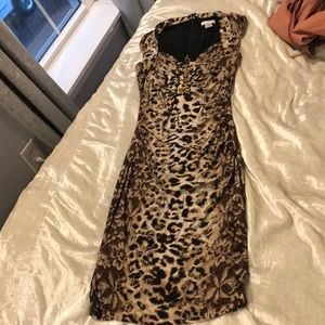 Beautiful cheetah print dress with gold chain